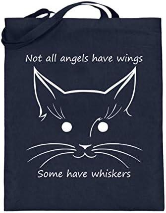 generisch Not all angels have wings, some have whiskers | Katze Katzen Engel - Jutebeutel (mit langen Henkeln)