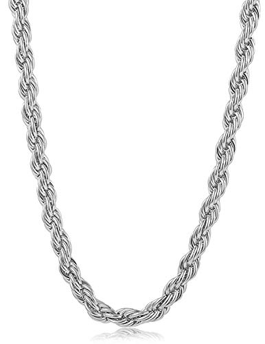Hollywood Jewelry 14K White or Yellow Gold Solid 6MM Diamond Cut Rope Chain Necklace w/Real Strong Lobster Claw Clasp f/Men or Women Thin for Pendants, Charms 22-28inches (24)