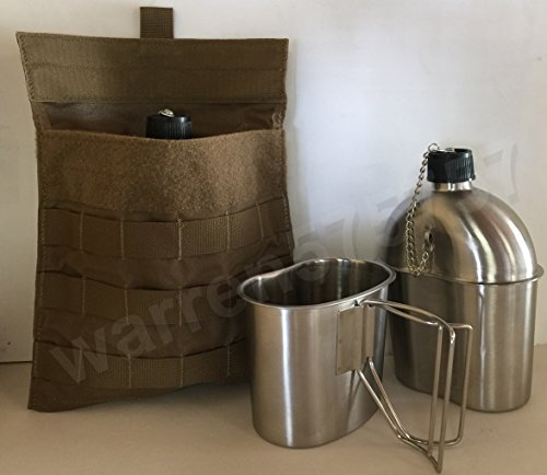 G.A.K G.I. STYLE STAINLESS STEEL 1QT. CANTEEN WITH CUP. And GENUINE U.S. MILITARY MOLLE SIDE P-POUCH. by G.A.K