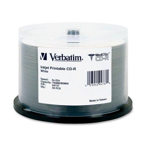 VER94737 - Verbatim MediDisc CD-R 700MB 52X White Inkjet Printable with Branded Hub - 50pk Spindle