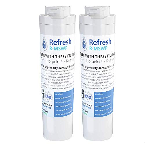 Refresh Replacement Refrigerator Water Filter for GE MSWF, Tier1 RWF1062, Aquafresh WF282, Arrowpure APF-1800, AQUACREST AQF-MSWF and IcePure RWF1500A (2)