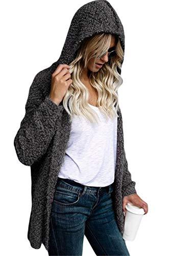 Happy Sailed Women Fuzzy Fleece Jackets Loose Open Front Hooded Cardigan Winter Coats Daily Outwear X-Large Grey