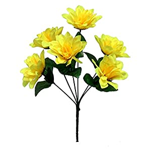 Kampoojoo - Yellow Dahlia Flowers Centerpieces Bridal Silk Wedding Bouquets (Set of 12) 23