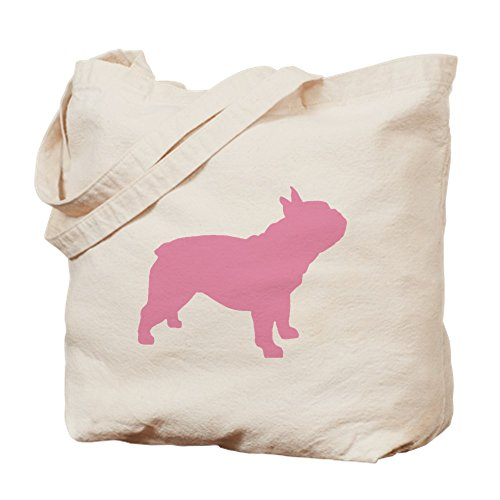 CafePress Pink French Bulldog Natural Canvas Tote Bag, Reusable Shopping Bag (French Book Bag)
