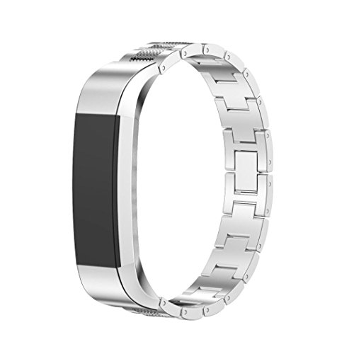 Price comparison product image For Fitbit Alta HR, Outsta Stainless Steel Accessory Bangle Watch Band Wrist strap (Silver)