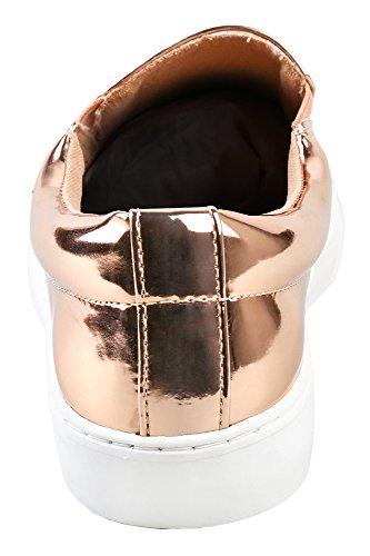 Soda IF13 Frauen Classic Elastic Panel Slip auf genähte Mode Sneaker Roségold