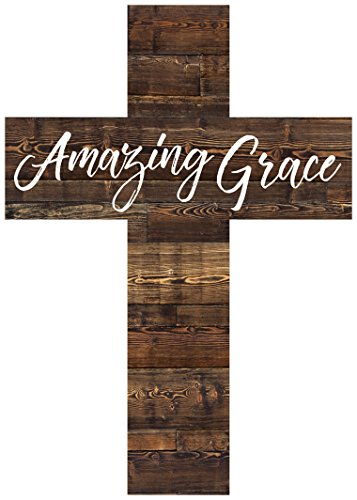 Amazing Grace Script Dark Brown 8.5 x 12 Solid Pine Wood Wall Hanging Cross (Amazing Wall Grace)