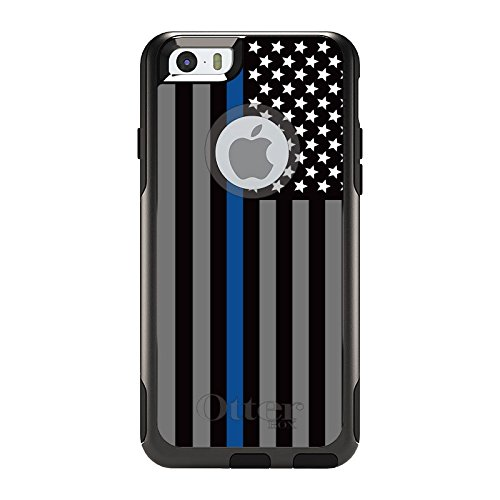 DistinctInk Case for iPhone 6 / 6S (NOT Plus) - OtterBox Commuter Black Custom Case - Thin Blue Line US Flag Law Enforcement - Show Your Support for First Responders