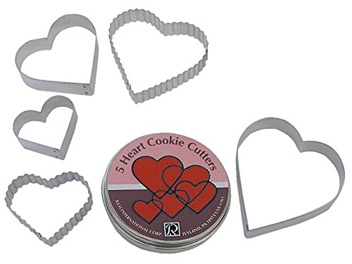 R&M International 1963 Heart Cookie Cutters, Plain and Fluted, Assorted Sizes, 5-Piece Set in Gift Tin (Cutter Cookie Heart 5)