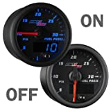 """MaxTow Double Vision 30 PSI Fuel Pressure Gauge Kit - Includes Electronic Sensor - Black Gauge Face - Blue LED Illuminated Dial - Analog & Digital Readouts - for Diesel Trucks - 2-1/16"""" 52mm"""