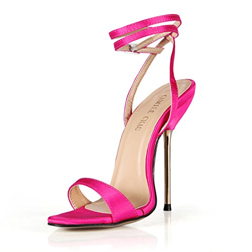 Dress Heels Sexy Pink Women Ladies CHAU Strap CHMILE High Stiletto Sandals Ankle Shoes Iron Satin qx8pnwWEn