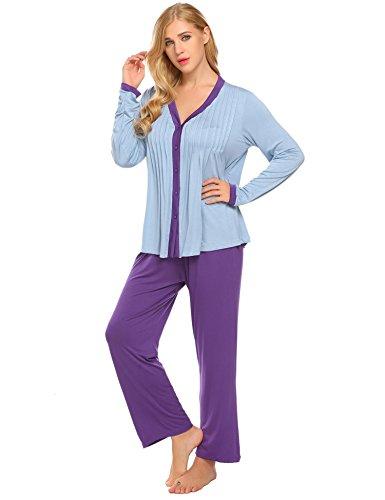 Lamore Womens Modal 2-piece Sleepwear Round Neck Long Sleeve Pants Casual Pajama Set