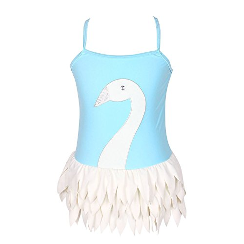 Swimsuit Size Charts (Qyqkfly Girl Swan Adjustable Strap Cross Back One Piece Swimsuit (FBA) (10,)