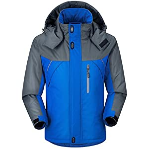 CIOR Men and Women Snow Jacket Windproof Waterproof Ski Jackets Winter Hooded Mountain Fleece Outwear,CAND109-Blue-3XL