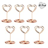 Jofefe 20pcs Mini Place Card Holders Table Number Stands Table Card Holder Wire Table Picture Photo Holder with Heart Shape Menu Memo Clips for Wedding Favors, Rose Gold