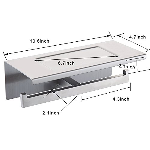 best XVL Dual Toilet tissue paper holder with mobile phone storage shelf, Nickel Brushed, G318B