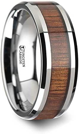 KONA Koa Wood Inlaid Tungsten Carbide Ring with Bevels - 8 mm