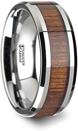 KONA Koa Wood Inlaid Tungsten Carbide Ring with Bevels - 8 mm