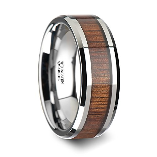 KONA Koa Wood Inlaid Tungsten Carbide Ring Titanium Free with Bevels - 8 mm