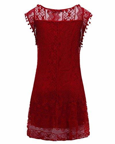 Pizzo Maniche Casual Styledome Girocollo Sottile shirt T Moda Abito Donna Elegante Bordeaux Corto Senza Top Sexy Vestito FwFqvUE4