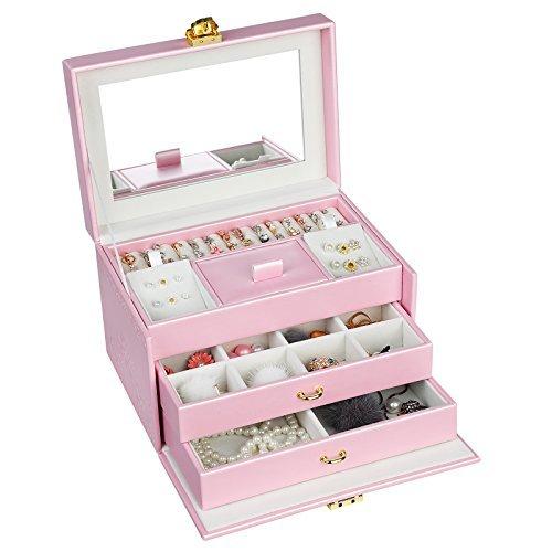 Songmics Caja de joyas con cierre–Embossed Almacenamiento Organizador con Espejo joyería soporte para las niñas las...