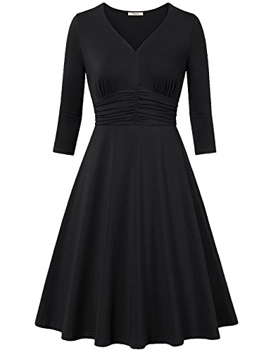 Formal Dresses,Bebonnie Women 3/4 Sleeve Ruched Empire Waist Cocaktail Party Evening Dress for Summer Fall XL Black