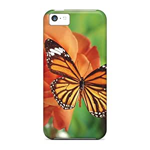 Anti-scratch And Shatterproof Beauty In Orange Phone Case For Iphone 5c/ High Quality Tpu Case