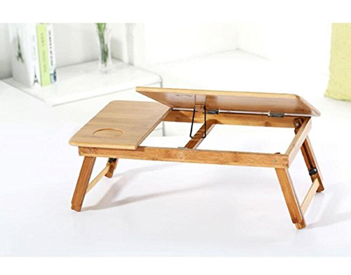 GAOJIAN College students learn laptops table Natural Bamboo Laptop Table Desk Adjustable Height Folding Table Computer Desk by GAOJIAN (Image #3)