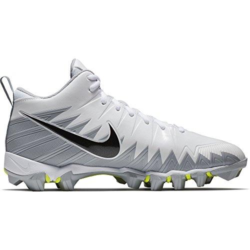 Nike Men's Alpha Menace Shark Football Cleat White/Black/Metallic Silver/Wolf Grey Size 10.5 M US
