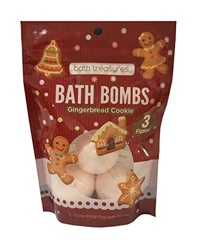 Bath Bombs Pack of 3 Bath Fizzies Sweet Scented Bath Bombs – Create Your Own Day Spa - 5.3oz (Gingerbread -
