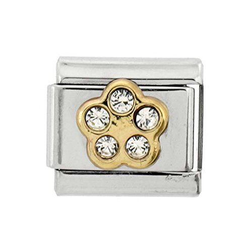 (Stainless Steel 18k Gold April Birthstones Charm for Italian Charm Bracelets 5 Stone)