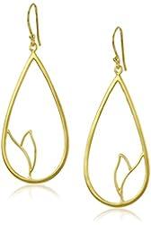 Satya Jewelry Gold Carved Lotus Drop Earrings