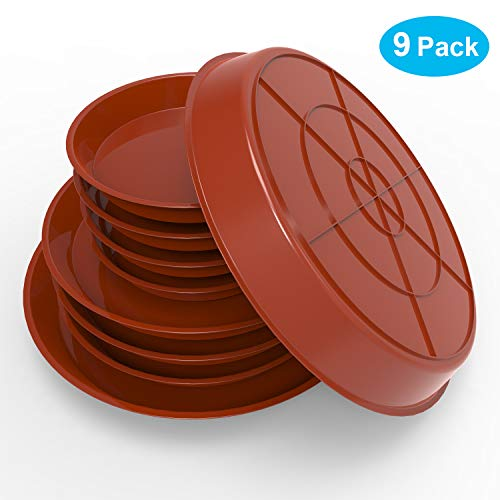 Bac-kitchen 9Pcs Plant Saucer, with 60ml Rubber Squeeze Bulb,6 8 10 Inch Durable Plant Drip Tray Saucers Flower Pot Set Round Pallets for Indoor Outdoor Garden