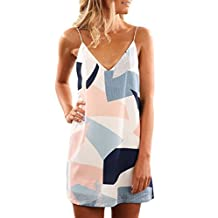 Ninimour Women V Neck Halter Printed Casual Strap Dress