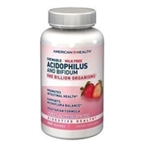 4 Pack of American Health Acidophilus and Bifidum - Strawberry - 100 Chewable Wafers - - -
