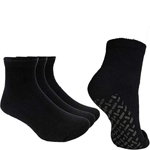 Debra Weitzner Non-Binding Loose Fit Sock - Non-Slip Diabetic Socks for Men and Women - Ankle 3Pk Black