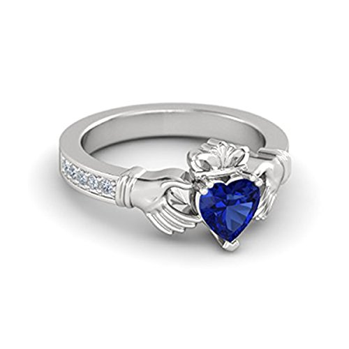 Dream Jewels 1.16ct tw Synthetic Blue Sapphire & White CZ Engagement Claddagh Ring in 14k White Gold Plated Free Size 4 5 6 7 8 9 10 11 & 12 Middle Size Available (8) Alloy