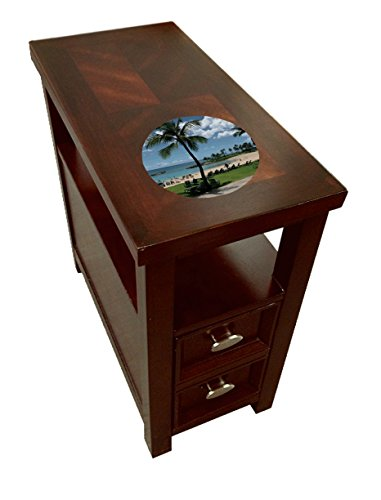 Cherry Finish Night Stand End Table with Drawer and Your Choice of a Novelty Themed Logo by The Furniture Cove