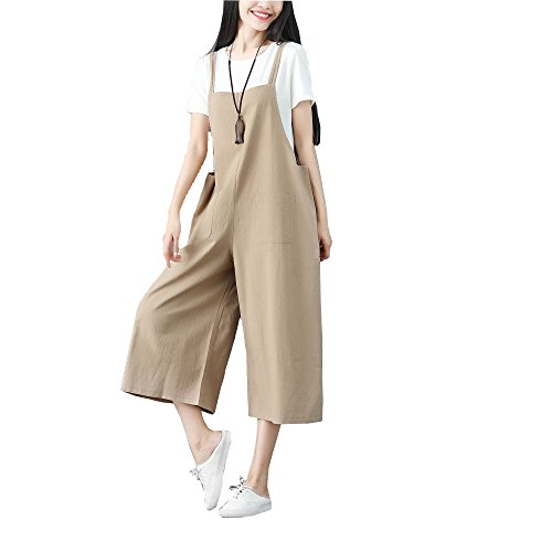 10280bb084d yiboolai Womens Strap Overall Pockets Bib Baggy Playsuit Pants Casual  Sleeveless Jumpsuit Trousers