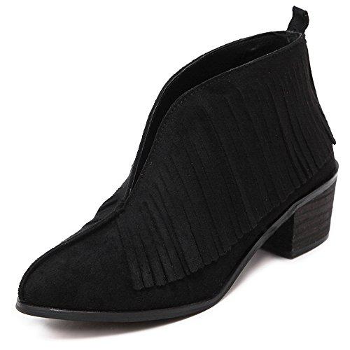 Women Heel Shoes Scrub Leather Tassels Short Boots Black - Womens Cowboy Boots Size12
