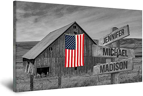 FAMILY GIFTS CO. American Barn Multi Names Premium Canva