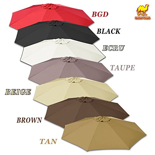 Strong Camel Replacement Umbrella Canopy for 10ft 8 Ribs in Brown Color (Canopy Only) ()