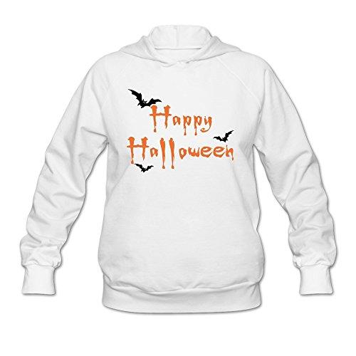 Women's Spooky Halloween Bat Hoodies White 100% -