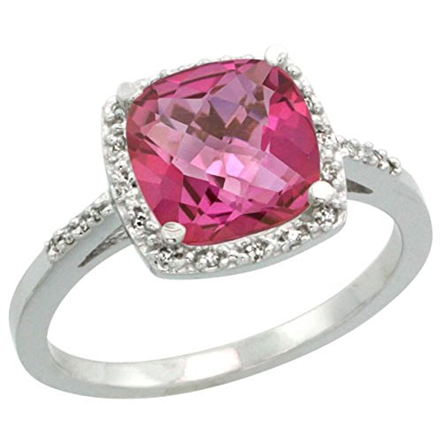 Sterling Silver Diamond Natural Pink Topaz Ring Cushion-cut 8x8mm, 1/2 inch wide, size 10