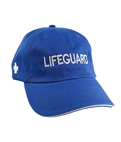 (Lifeguard Embroidery on an Adjustable Royal Blue and White Trim Unstructured Low Profile Baseball Cap with Options to Personalize the Hat)