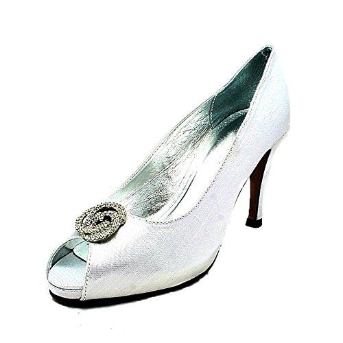 Shimmer raso abierto del dedo del pie zapatos de la boda de tacón medio plata