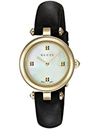 Swiss Quartz Gold-Tone and Leather Dress Black Women's Watch(Model: YA141505)