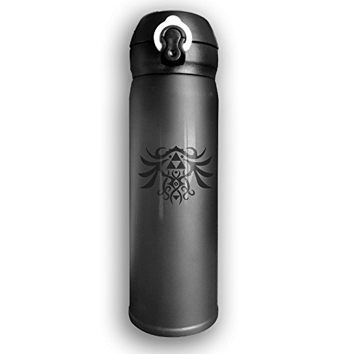 Cupcari Stainless Water Bottle Custom Triforce Logo,Sports Drinking Bottle,Leak-Proof Vaccum Cup,Travel Mug,With Bounce Cover,Black