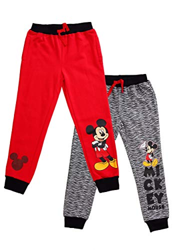 Disney Boys' Little Mickey Mouse 2 Pack Jogger Set, Black/red 6