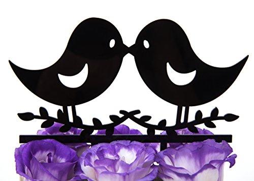 LOVENJOY-Gift-Box-Pack-Kissing-Love-Birds-Wedding-Engagement-Cake-Topper-67-inch-Black